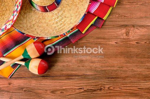 Mexico Cinco De Mayo Wood Background Mexican Sombrero Stock Photo