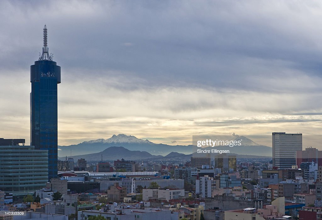 Mexico City and Popocatépetl : Stock Photo