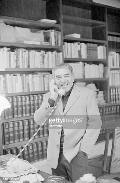 Columbian author Gabriel Garcia Marquez takes a telephone call after he won the Nobel Prize for Literature He has been living in Mexico since his...