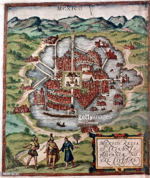 Mexico City in the early 16th century Depiction probably based on a sketch in the conquistador Hernan Cortes' book of 1524 From the British Museum