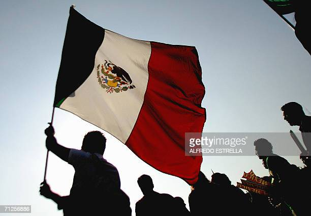 A Mexican supporter waves the national flag at the Zocalo Square in Mexico City 21 June 2006 during the transmission of the FIFA World Cup match...