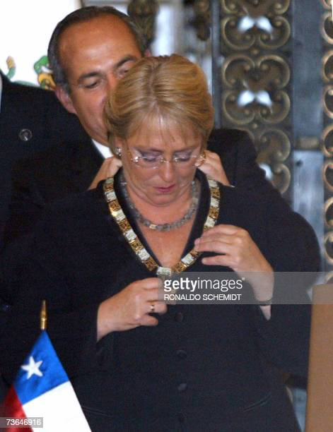 Chilean President Michele Bachelet receives the Mexican Aztec Eagle Order the highest decoration given by the Mexican government from Mexican...