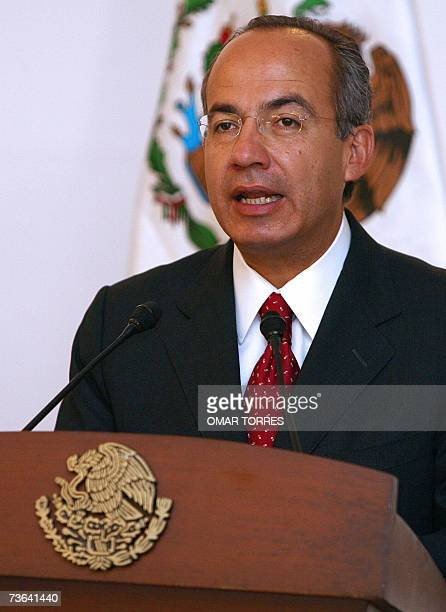 Mexican President Felipe Calderon speaks during a ceremony where Bill Gates chairman of Microsoft was decorated with the Aztec Eagle Order the...