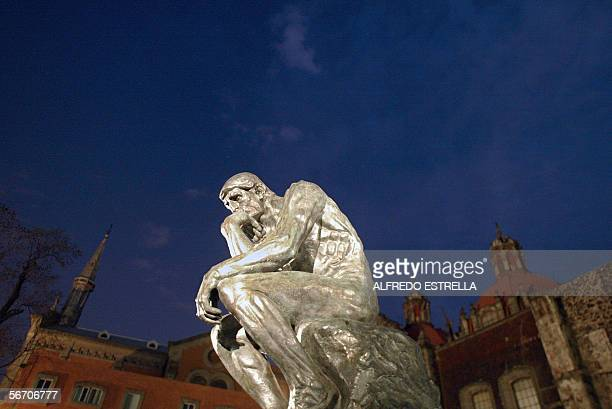 The sculpture 'The Thinker' by French artist Auguste Rodin is on display during the opening of his exhibition 30 January 2006 in Mexico City AFP...