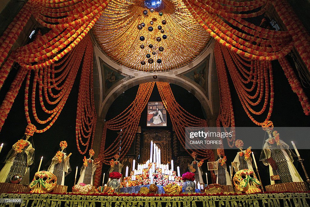View of a majestic death altar dedicated to knowledge and to Mexican poet sister Juana Ines de la Cruz who shook the cultural world of the country in...