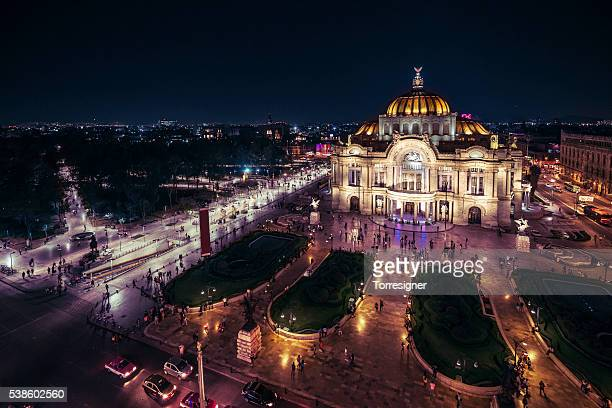 Mexico City's Downtown At Nighttime