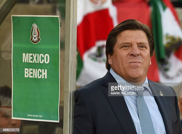 Mexico coach Miguel Herrera during the friendly football match Mexico vs Ecuador at the LA Memorial Coliseum in Los Angeles on March 28 2015 Mexico...