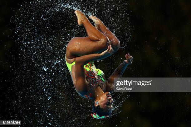 Mexico compete during the Synchronised Swimming Team Technical preliminary round on day three of the Budapest 2017 FINA World Championships on July...