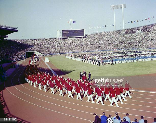 Mexico Delegation march during the Tokyo Olympic Opening Ceremony at the National Stadium on October 10 1964 in Tokyo Japan