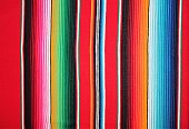 Fabric poncho serape Mexico traditional cinco de mayo rug poncho fiesta background with stripes copy space textile