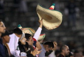 Mexico fan celebrates by waving a sombrero aftera goal by Diego Reyes against Trinidad and Tobago during the second day of 2012 CONCACAF Men's...