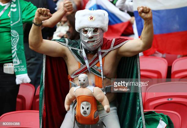 Mexico fan cheers during the FIFA Confederations Cup Russia 2017 Group A match between Mexico and Russia at Kazan Arena on June 24 2017 in Kazan...