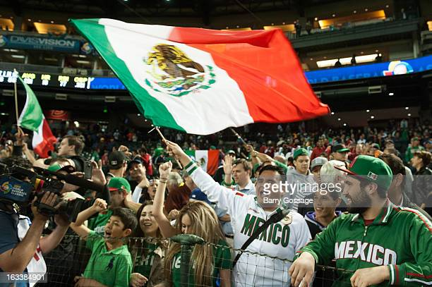 Mexico fans celebrate after Team Mexico defeated Team USA in Pool D Game 3 at Chase Field on Friday March 8 2013 in Phoenix Arizona