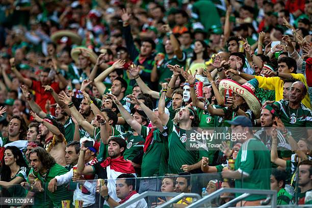 Mexico fans cheer during the 2014 FIFA World Cup Brazil Group A match between Croatia and Mexico at Arena Pernambuco on June 23 2014 in Recife Brazil