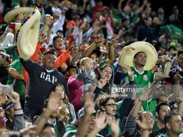 Mexico fans cheer during the team's exhibition match against Iceland at Sam Boyd Stadium on February 8 2017 in Las Vegas Nevada Mexico won 10
