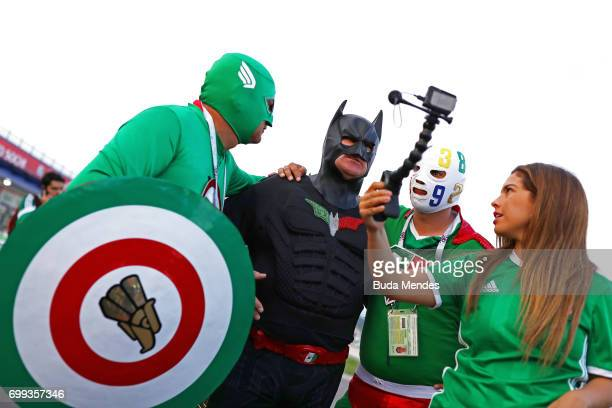 Mexico fans enjoy the pre match atmosphere prior to the FIFA Confederations Cup Russia 2017 Group A match between Mexico and New Zealand at Fisht...