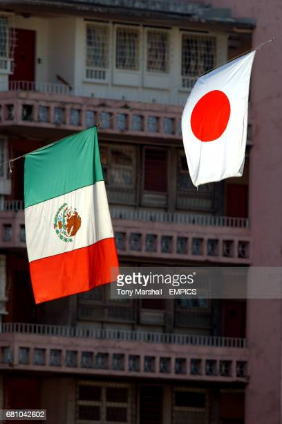 A Mexico flag and a Japan flag overhang the ground