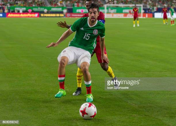 Mexico forward Rodolfo Pizarro protects the ball in the corner zone during the Mexico vs Ghana friendly soccer match at on June 28 2017 at NRG...