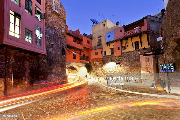 Mexico, Guanajuato, Historic city center with light trails