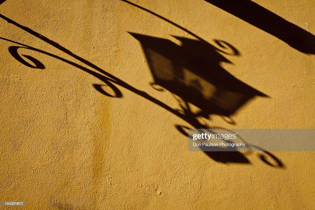 Mexico, Guanajuato, San Miguel de Allende, Shadow of lamp on wall : Stock Photo