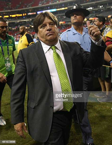 Mexico head coach Miguel Herrera acknowledges the after the 2015 CONCACAF semifinal match against Panama at Georgia Dome on July 22 2015 in Atlanta...