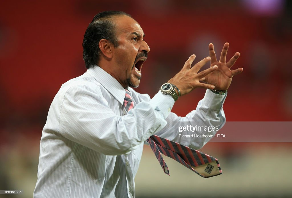 Mexico head coach Raul Gutierrez during the FIFA U-17 World Cup UAE 2013 Semi Final match between Argentina and Mexico at the Mohamed Bin Zayed Stadium on November 5, 2013 in Abu Dhabi, United Arab Emirates.