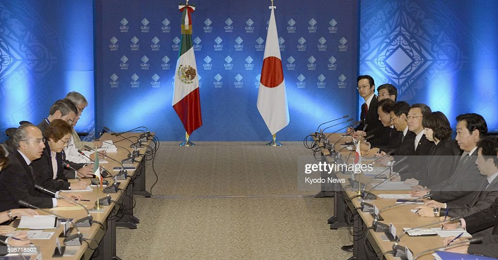 LOS CABOS Mexico Japanese Prime Minister Yoshihiko Noda and Mexican President Felipe Calderon hold talks in the Mexican resort of Los Cabos on June...