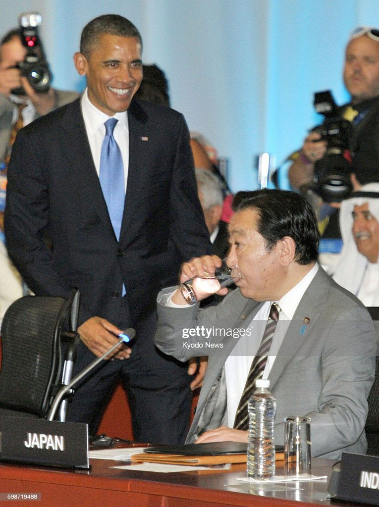 LOS CABOS Mexico Japanese Prime Minister Yoshihiko Noda sitting attends the Group of 20 summit in Los Cabos Mexico on June 18 2012 To the left is US...