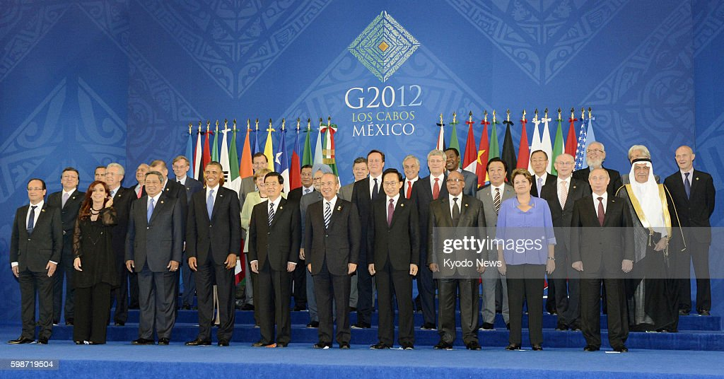 LOS CABOS Mexico Leaders of the Group of 20 major economies pose for photos in Los Cabos Mexico on June 18 the first day of a twoday summit meeting