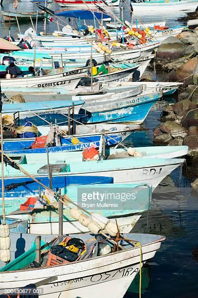 Mexico, Manzanillo, row of fishing boats in marina