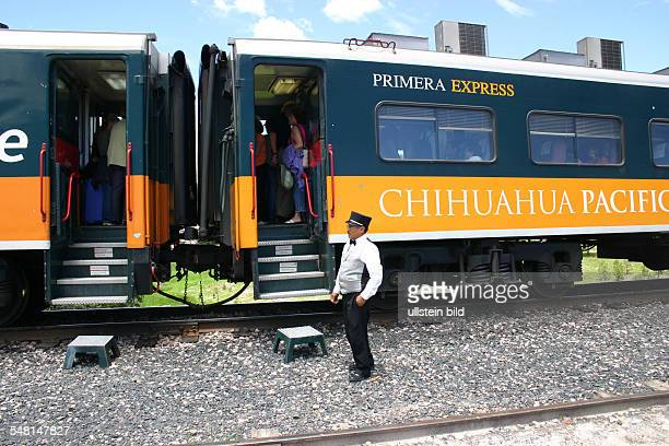 Mexico Mexico conductor of the Chepe first class express train at the halt in Divisadero