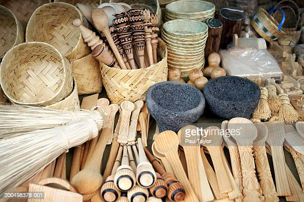 Mexico, Michoacan, Patzcuaro, cooking utensils in market