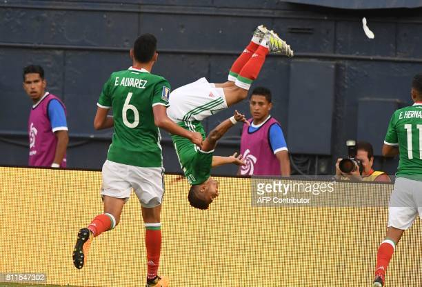 Mexico Orbelin Pineda does a back flip to celebrate his goal against El Salvador in Group C play in the 2017 CONCACAF Gold Cup July 9 2017 at...