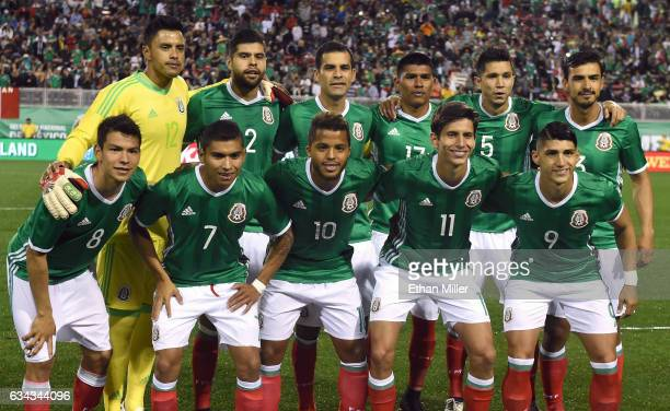 Mexico players goaltender Alfredo Talavera Nestor Araujo Rafael Marquez Jesus Gallardo Jesus Molina and Oswalso Alanis and Hirving Lozano Orbelin...