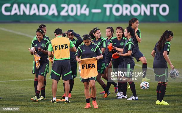 Mexico players in action during a Mexico training session at the National Soccer Stadium on August 12 2014 in Toronto Canada