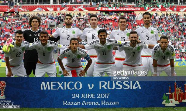 Mexico players line up for the team photos prior to during the FIFA Confederations Cup Russia 2017 Group A match between Mexico and Russia at Kazan...