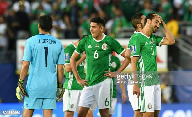 Mexico players react after loosing 01 against Jamaica during the CONCACAF Gold Cup semifinal match on July 23 2017 at The Rose Bowl in Pasadena...