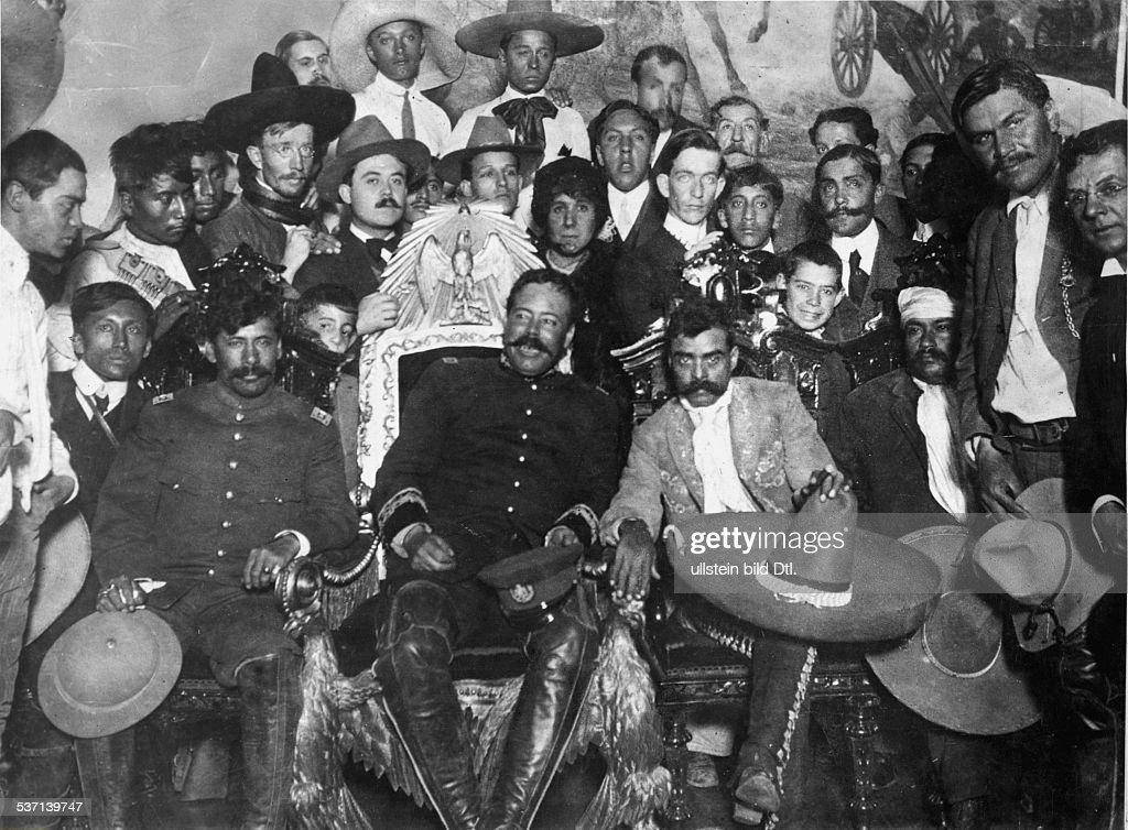 Mexico Revolution 1911-29 <a gi-track='captionPersonalityLinkClicked' href=/galleries/search?phrase=Emiliano+Zapata&family=editorial&specificpeople=743817 ng-click='$event.stopPropagation()'>Emiliano Zapata</a> (*08.08.1879-+) (murdered) Revolutionary; Mexico After taking Mexico City: Zapata (with sombrero), left next to him on the president's chair Francisco Pancho Villa. Far left: Tomas Urbina; far right: Otilio Montano - photo: Augustin Casasola -