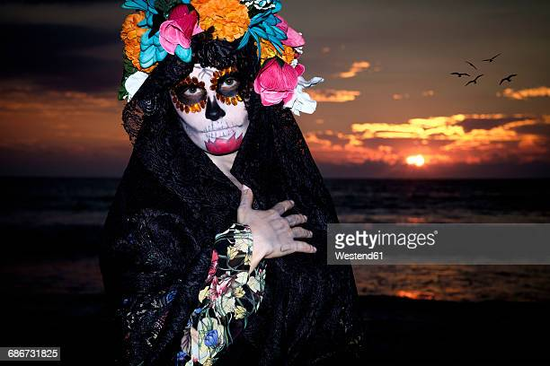 Mexico, Riviera Nayarit, female skeleton figure symbolizing the celebration of death on Dia de Los Muertos