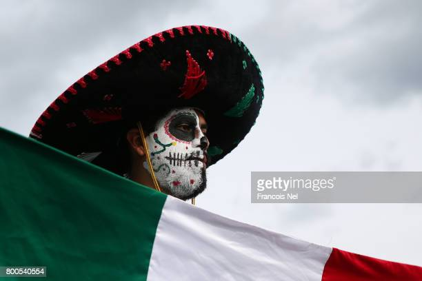 Mexico supporter enjoys the atmosphere prior to the FIFA Confederations Cup Russia 2017 Group A match between Mexico and Russia at Kazan Arena on...