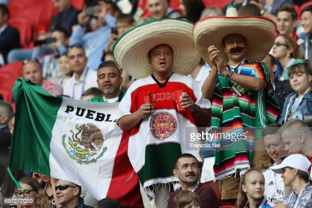 Mexico supporters enjoy the atmosphere prior to the FIFA Confederations Cup Russia 2017 Group A match between Portugal and Mexico at Kazan Arena on...
