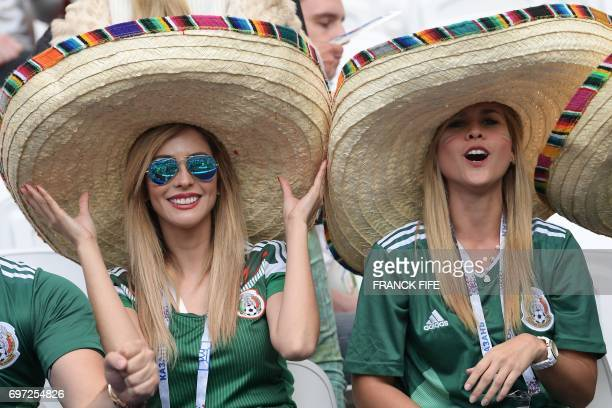 TOPSHOT Mexico supporters pose ahead of the 2017 Confederations Cup group A football match between Portugal and Mexico at the Kazan Arena in Kazan on...