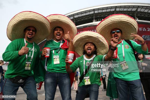 Mexico supporters pose for photographs prior to the FIFA Confederations Cup Russia 2017 Group A match between Mexico and Russia at Kazan Arena on...