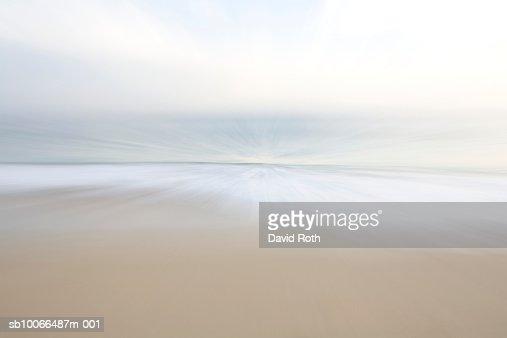 Mexico, Todos Santos, Beach and seascape, blurred motion : Bildbanksbilder