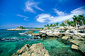 Mexico, Xcaret, Lagoon, Rock formation in the sea