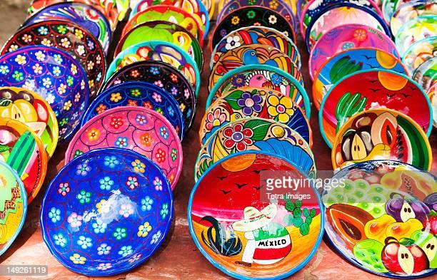 Mexico, Yucatan, Colorful plates