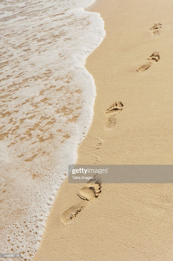 Mexico, Yucatan, Footprints on beach : Stock Photo