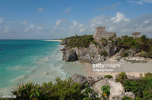 Mexico Yucatan Peninsula Near Cancun Riviera Maya Maya Ruins Of Tulum Beach With View Of El Castillo