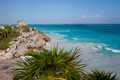 Mexico Yucatan Peninsula Near Cancun Riviera Maya Maya Ruins Of Tulum View Of Templo Dios Del Viento