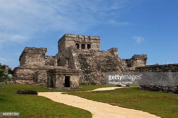 Mexico Yucatan Peninsula Near Cancun Riviera Maya Maya Ruins Of Tulum El Castillo
